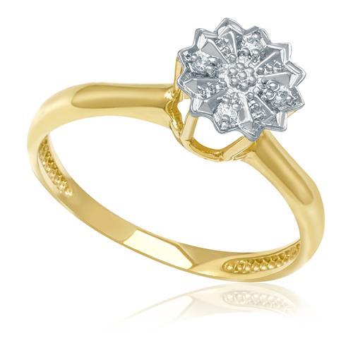 Anel Chuveiro com 5 pontos em diamantes, em ouro amarelo