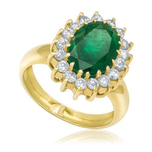 Anel com Esmeralda Oval de 5,5 Cts e 17 Diamantes, em Ouro Amarelo