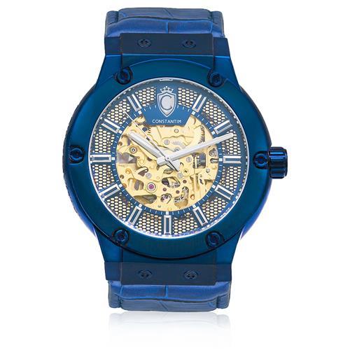 Relógio Constantim Skeleton Blue ZW30115F Couro Azul