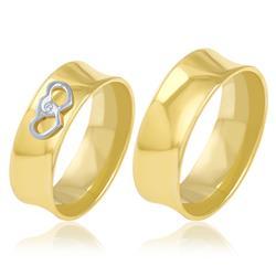 Par de Alianças Corações com Diamante em Ouro Amarelo