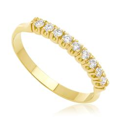 Meia Aliança com 9 Diamantes totalizando 25 Pts, em Ouro Amarelo
