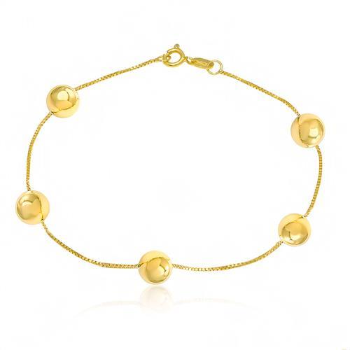 Pulseira com esferas com malha veneziana em Ouro Amarelo