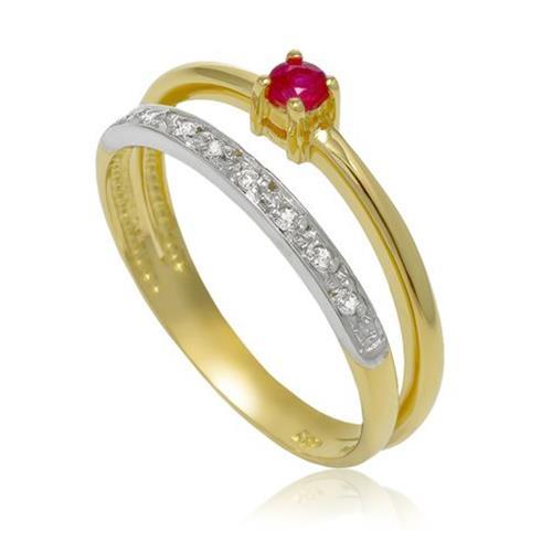 Anel com 8 Diamantes e Rubi¸ em Ouro Amarelo