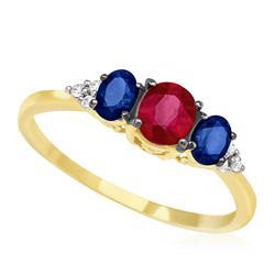 Anel com 2 Safiras, 1 Rubi e 6 Diamantes, em Ouro Amarelo