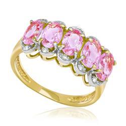 Meia Aliança com 10 Diamantes e 5 Quartzos Rosas, em Ouro Amarelo