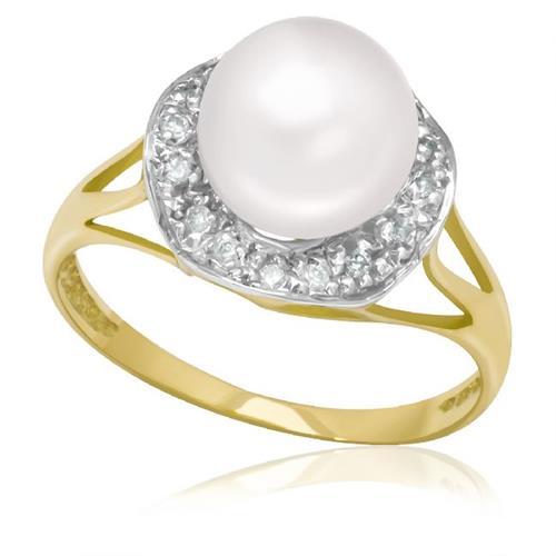 Anel com 16 Diamantes e Pérola de 9 mm, em Ouro Amarelo