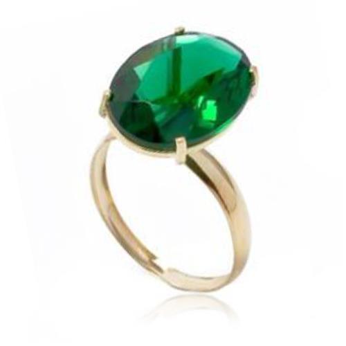 Anel com Blue green oval de 8 Cts¸ em Ouro Amarelo