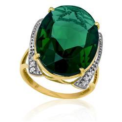 Anel com Blue Green Oval e 12 Diamantes, em Ouro Amarelo