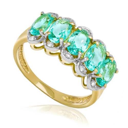 Meia Aliança com 10 Diamantes e 5 Cristais de Turmalina Paraíba, em Ouro Amarelo