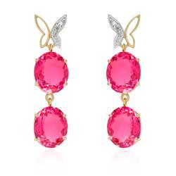 Par de Brincos com 2 Diamantes e 4 Cristal Rosa em Ouro Amarelo