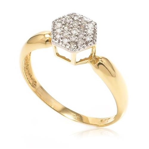 Anel Chuveiro Sextavado com 19 Diamantes, em Ouro Amarelo