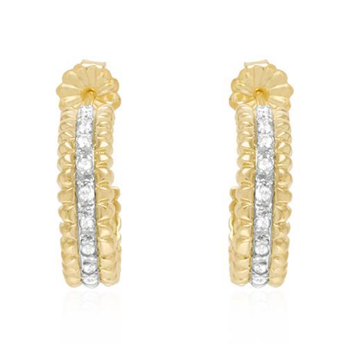 Par de Brincos Meia Argola com Diamantes em Ouro Amarelo