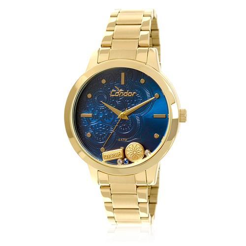 Relógio Feminino Condor Analógico CO2036CJ/4A Fundo Azul com berloques