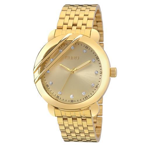Relógio Feminino Euro Analógico EU2036YEB/4D Dourado com cristais