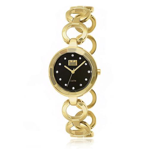 Relógio Feminino Dumont Analógico DU2035LMP/4P Fundo Preto com Cristais