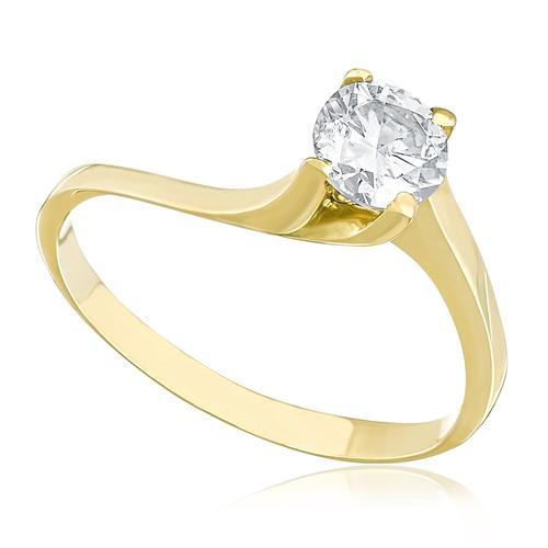 Anel Solitário com Diamante de 60 Pts, em Ouro Amarelo