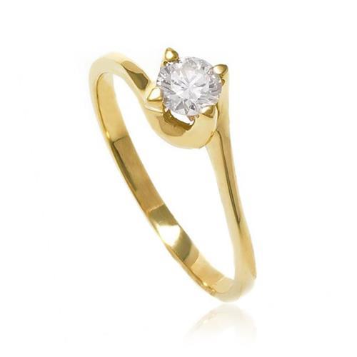 Anel Solitário com Diamante de 30 Pts, em Ouro Amarelo