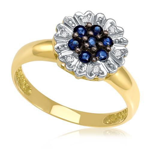 Anel Chuveiro com 7 Safiras e 6 Diamantes, em Ouro Amarelo