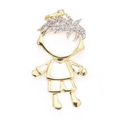 Pingente Menino com 11 Diamantes, em Ouro Amarelo