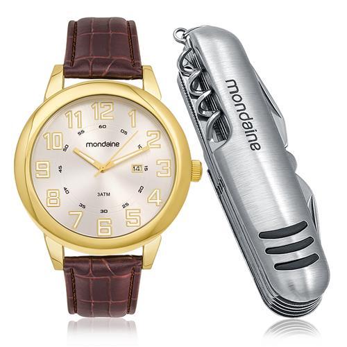 d6eb635b96fd5 Relógio Masculino Mondaine Analógico 83306GOMKDH2 dourado em couro marrom  com 1 canivete 11 funções