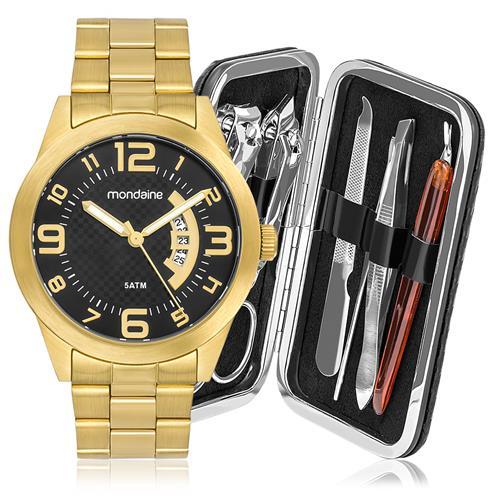 aa9390457bd Relógio Masculino Mondaine Analógico 78517GPMVDA3 dourado com kit manicure
