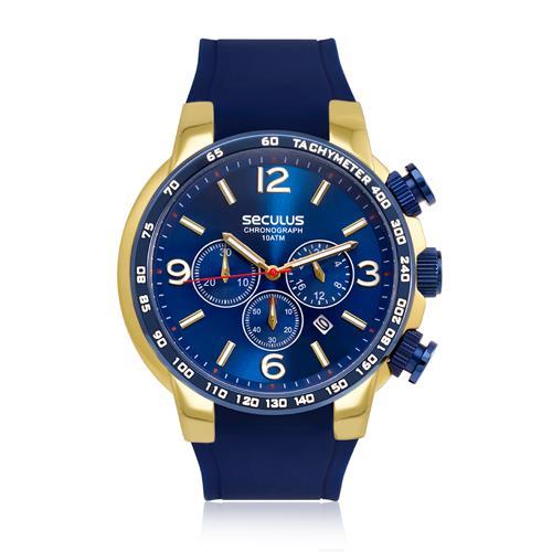 1e4927bc229 Relógio Masculino Seculus Analógico 20406GPSVLU1 Borracha Azul