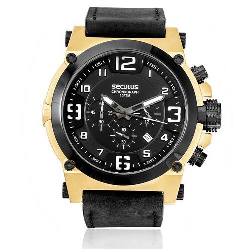 3171aaaee26 Relógio Masculino Seculus Chronograph 20387GPSVDC1 Couro Preto