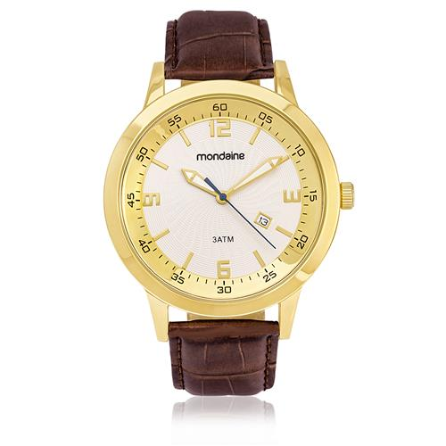 077973b52c4 Relógio Masculino Mondaine Analógico 94790GPMVDH1 couro marrom branco e  dourado