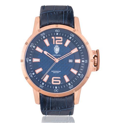Relógio Masculino Constantim Lucern Executive Rose Blue Analógico ZW30036A Couro Azul