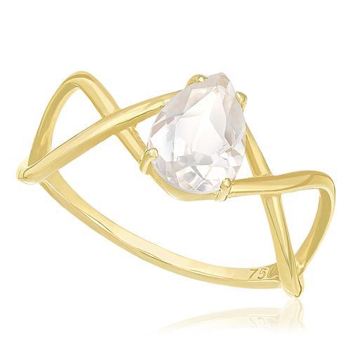 Anel Trançado com Cristal de Rocha, em Ouro Amarelo
