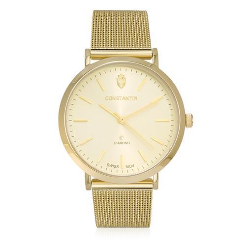 b7c621e7c25 Relógio Constantim Diamond Gold Quartz 6781L-G Dourado pulseira esteira