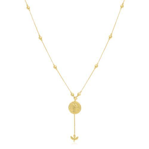 Colar com Medalha São Bento e Berloque Espírito Santo, em Ouro Amarelo