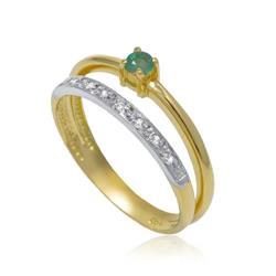 Anel com 8 Diamantes e Esmeralda, em Ouro Amarelo