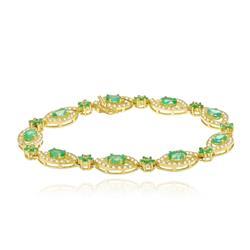 Pulseira com Esmeraldas Navetes e Diamantes em Ouro Amarelo