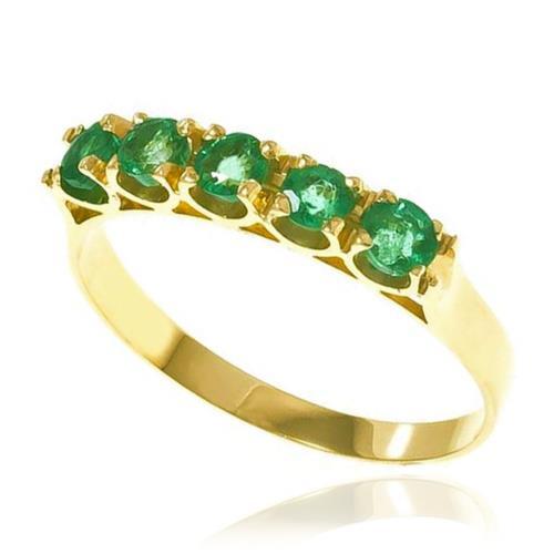 Meia Aliança com 5 Esmeraldas totalizando 1,3 Cts, em Ouro Amarelo