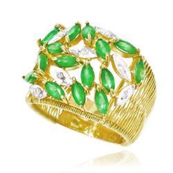 Anel Aramado com 8 Diamantes e 15 Esmeraldas Totalizando 3,45 Cts¸ em Ouro Amarelo