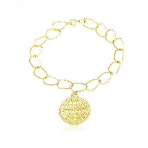 b70e36d012704 Pulseira Elos Ovais com Medalha São Bento, em Ouro Amarelo