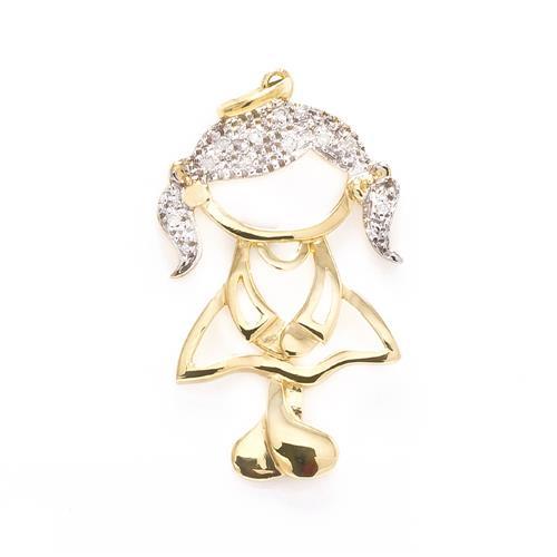 83148ea607 Pingente Menina de Ouro com 10 Diamantes