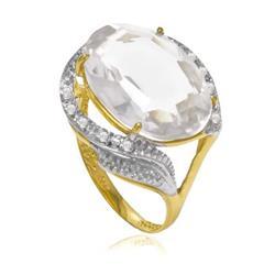 Anel com 8 Diamantes e Cristal Oval, em Ouro Amarelo
