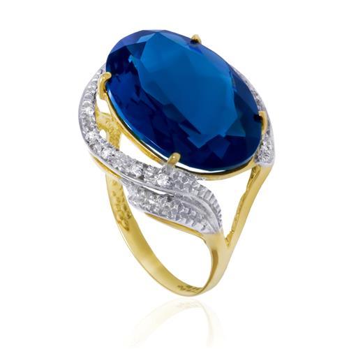 Anel com 8 Diamantes e Topázio Azul Oval, em Ouro Amarelo