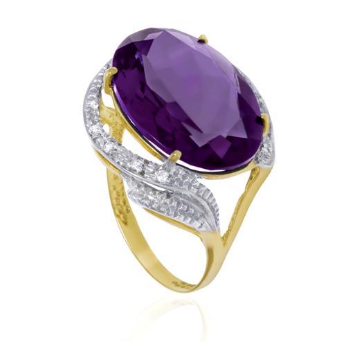 Anel com 8 Diamantes e Ametista Oval, em Ouro Amarelo