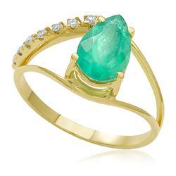 Anel com Esmeralda Oval de 1,51 Cts e 7 Diamantes, em Ouro Amarelo