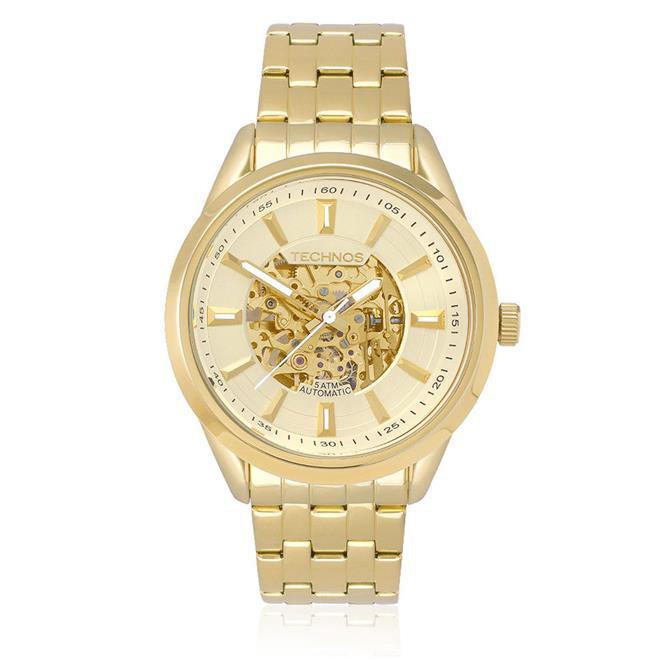 b62175a106bd5 Relógio Masculino Technos Esqueleto Automático 8N24AF 4X- Maquinário Dourado