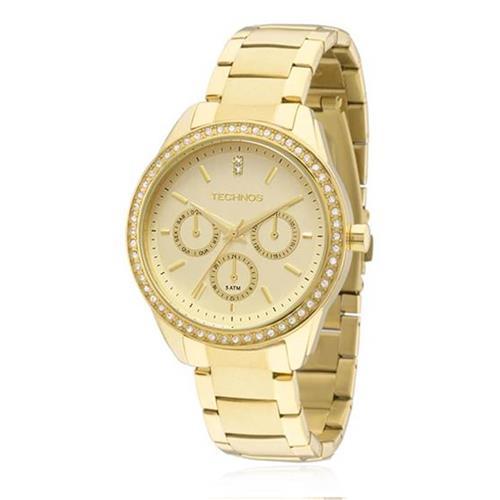 Relógio Feminino Technos Elegance Ladies analógico 6P29AIE/4X Dourado com cristais na catraca