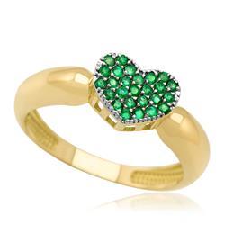 Anel de Ouro modelo Chuveiro Coração com 26 Esmeraldas