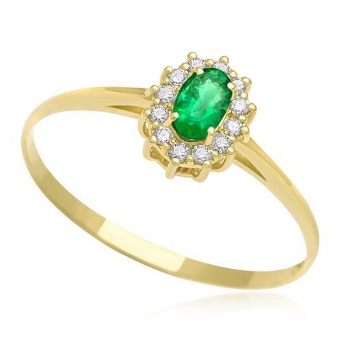 Anel com Esmeralda central e 12 Diamantes, em Ouro Amarelo
