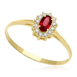 Anel com Rubi central e 12 Diamantes, em Ouro Amarelo