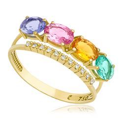 Anel com 11 Diamantes mix gemas, em Ouro Amarelo