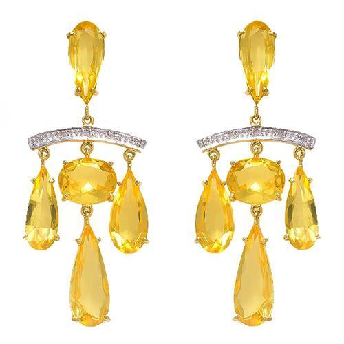 Par de Brincos com 10 Diamantes e Citrino Totalizando 17 Cts¸ em Ouro Amarelo com Detalhes em Ródio