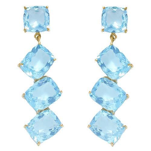 Par de Brincos com Topázio Azul Sky Blue Totalizando 15,5 Cts., em Ouro Amarelo